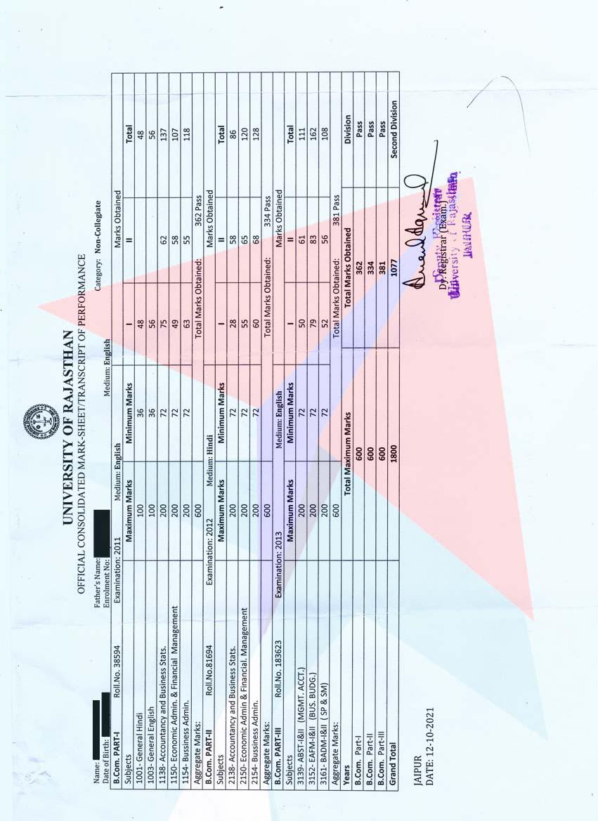 RajasthanUniversityTranscripts - Getting transcripts made